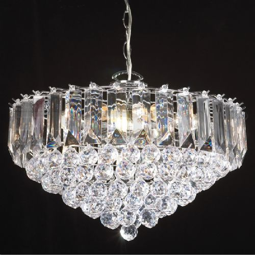 "6 x 60W POLISH/CHROME ACRYLIC PENDANT 18"" DIAMETER (updated version of T-699-18) FARGO-18CH"